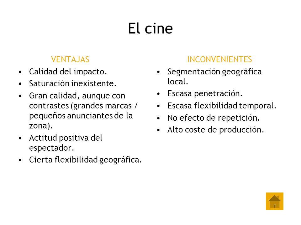 El cine VENTAJAS Calidad del impacto. Saturación inexistente. Gran calidad, aunque con contrastes (grandes marcas / pequeños anunciantes de la zona).