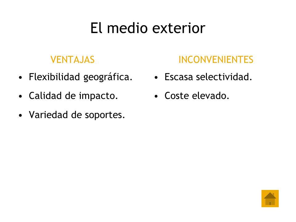 El medio exterior VENTAJAS Flexibilidad geográfica. Calidad de impacto. Variedad de soportes. INCONVENIENTES Escasa selectividad. Coste elevado.