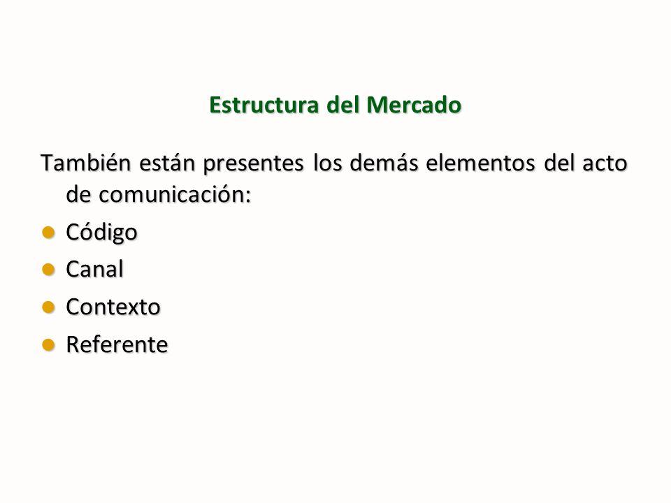 Estructura del Mercado También están presentes los demás elementos del acto de comunicación: Código Código Canal Canal Contexto Contexto Referente Ref