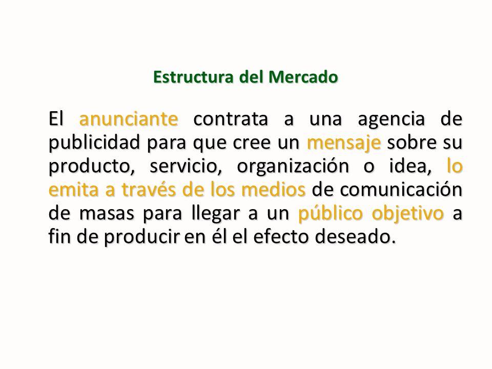 Estructura del Mercado El anunciante contrata a una agencia de publicidad para que cree un mensaje sobre su producto, servicio, organización o idea, l