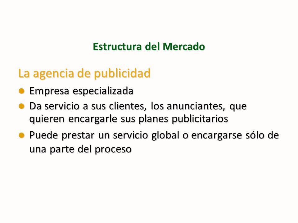 Estructura del Mercado La agencia de publicidad Empresa especializada Empresa especializada Da servicio a sus clientes, los anunciantes, que quieren e