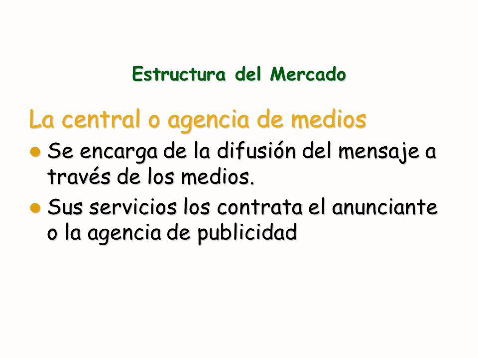 Estructura del Mercado La central o agencia de medios Se encarga de la difusión del mensaje a través de los medios. Se encarga de la difusión del mens
