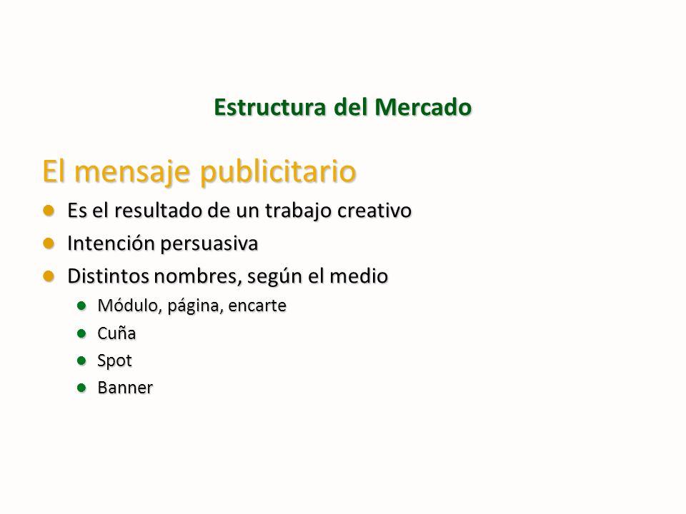 Estructura del Mercado El mensaje publicitario Es el resultado de un trabajo creativo Es el resultado de un trabajo creativo Intención persuasiva Inte