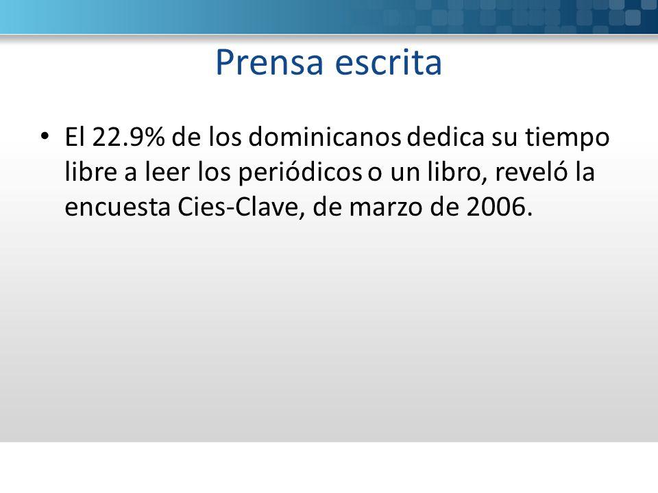 Prensa escrita El 22.9% de los dominicanos dedica su tiempo libre a leer los periódicos o un libro, reveló la encuesta Cies-Clave, de marzo de 2006.