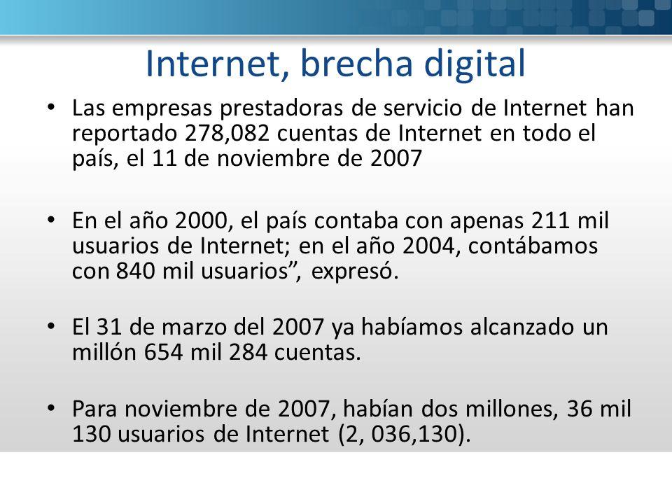 Internet, brecha digital Las empresas prestadoras de servicio de Internet han reportado 278,082 cuentas de Internet en todo el país, el 11 de noviembre de 2007 En el año 2000, el país contaba con apenas 211 mil usuarios de Internet; en el año 2004, contábamos con 840 mil usuarios, expresó.