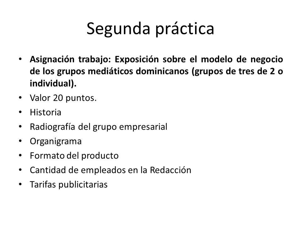 Segunda práctica Asignación trabajo: Exposición sobre el modelo de negocio de los grupos mediáticos dominicanos (grupos de tres de 2 o individual).
