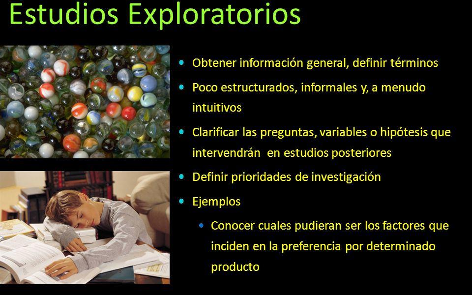 Estudios Exploratorios Obtener información general, definir términos Poco estructurados, informales y, a menudo intuitivos Clarificar las preguntas, v