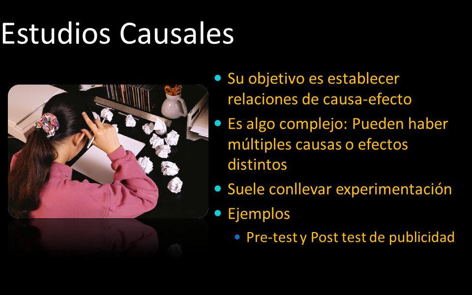 Estudios Causales Su objetivo es establecer relaciones de causa-efecto Es algo complejo: Pueden haber múltiples causas o efectos distintos Suele conll