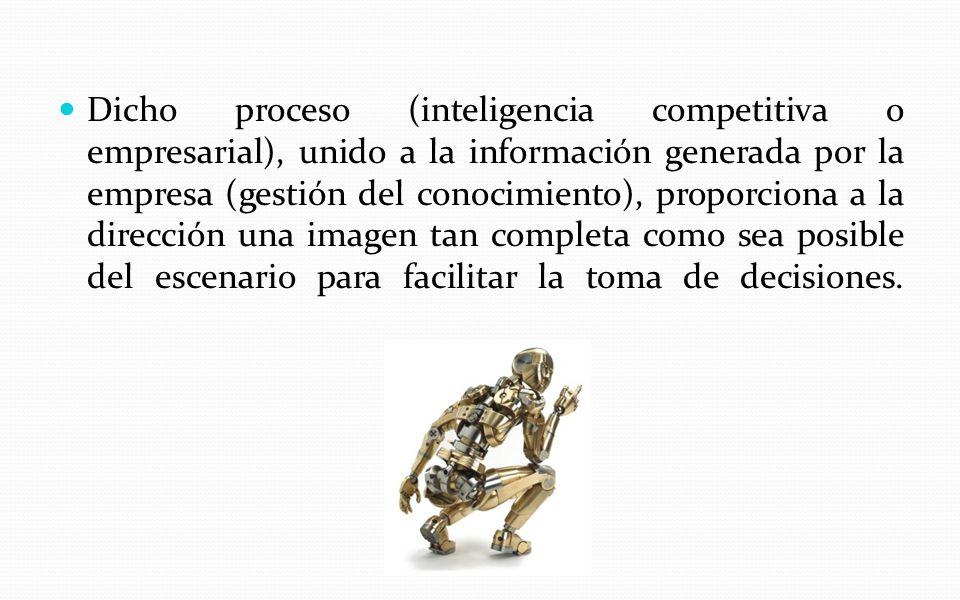 Dicho proceso (inteligencia competitiva o empresarial), unido a la información generada por la empresa (gestión del conocimiento), proporciona a la di