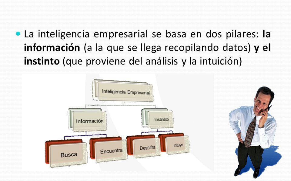 La inteligencia empresarial se basa en dos pilares: la información (a la que se llega recopilando datos) y el instinto (que proviene del análisis y la