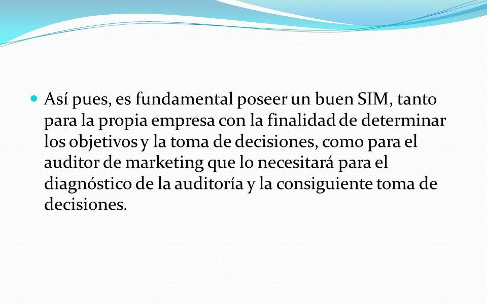 Así pues, es fundamental poseer un buen SIM, tanto para la propia empresa con la finalidad de determinar los objetivos y la toma de decisiones, como p
