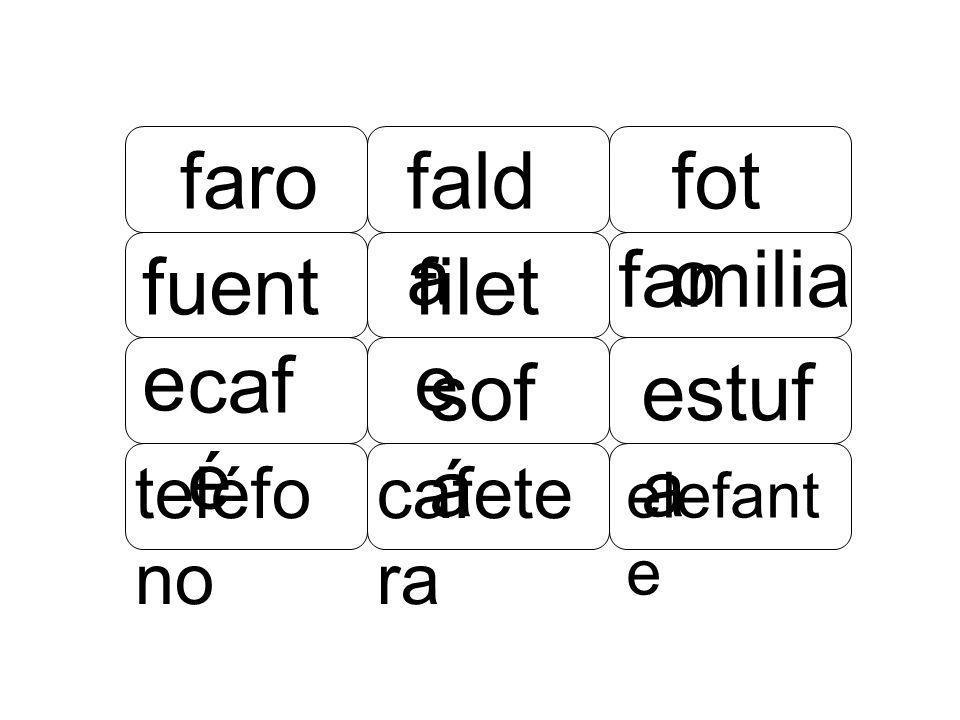faro filet e familia fald a fot o sof á estuf a fuent e caf é elefant e cafete ra teléfo no