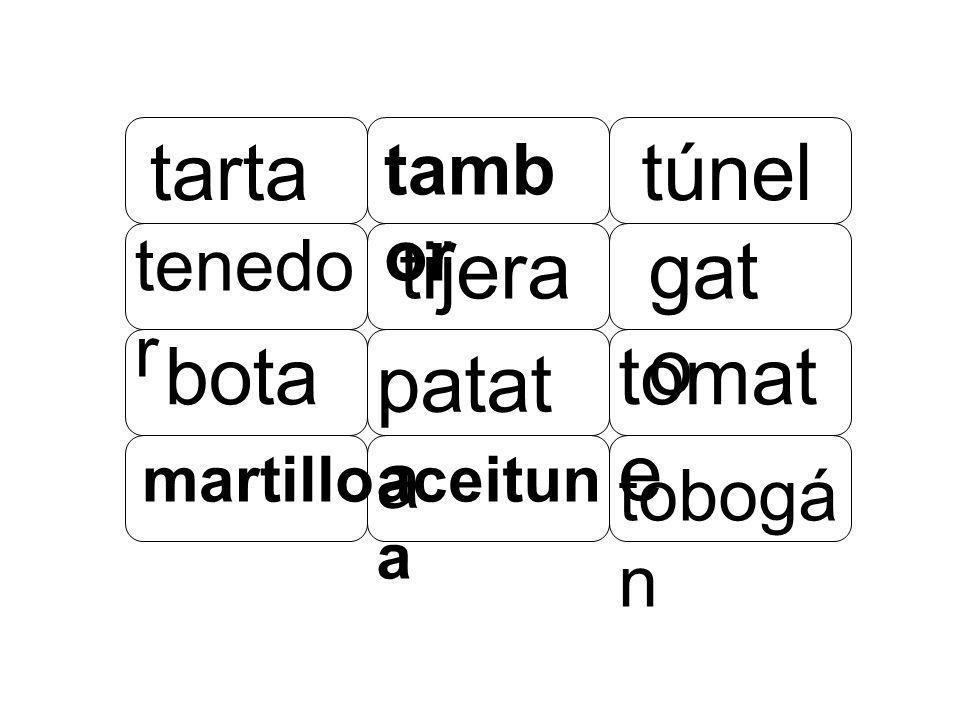 tarta tambor túnel tenedor tijera gato botapatatatomate martillo aceituna tobogán