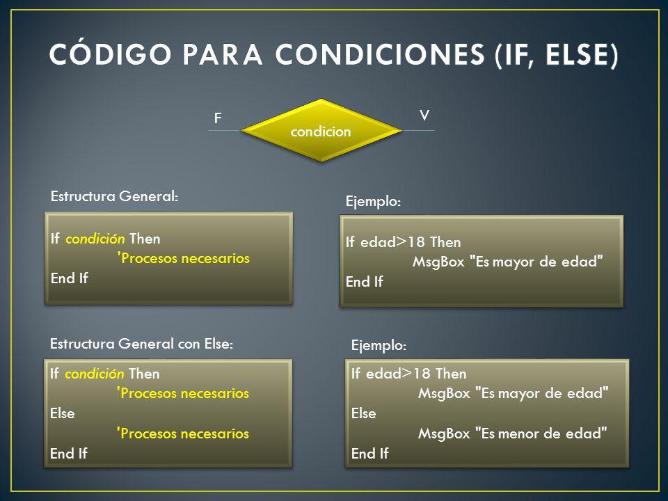 If condición Then 'Procesos necesarios End If If condición Then 'Procesos necesarios End If Estructura General: If edad>18 Then MsgBox