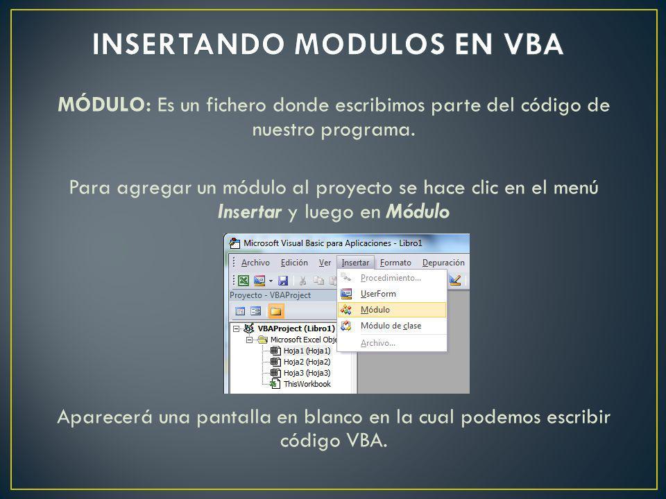 FORMULARIO: En VBA son llamados UserForm y son utilizados para captar datos o mostrar información.