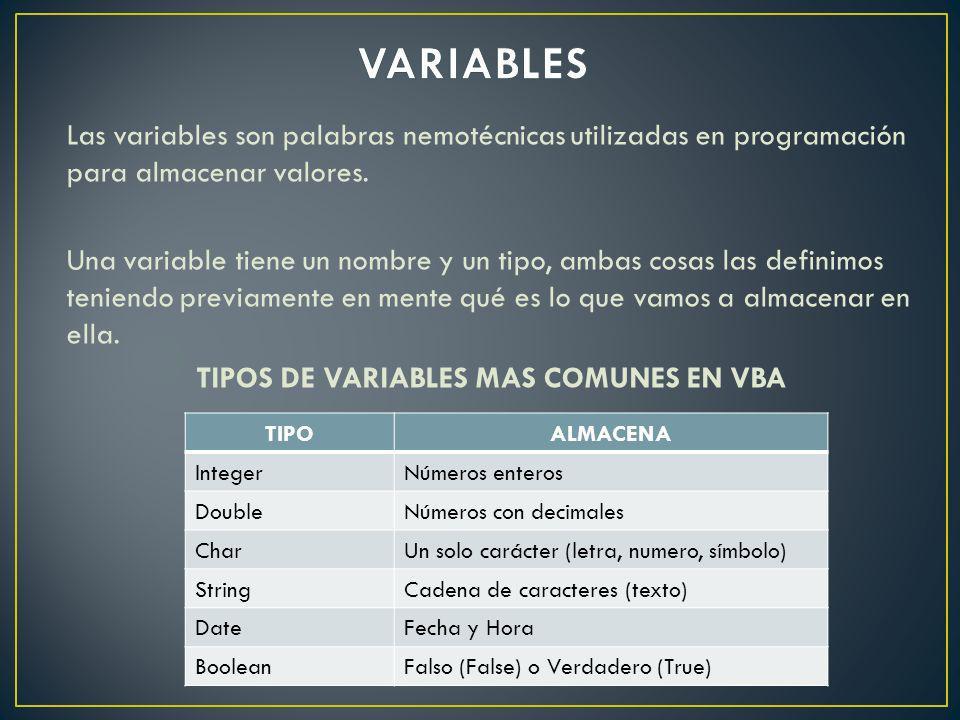 Las variables son palabras nemotécnicas utilizadas en programación para almacenar valores. Una variable tiene un nombre y un tipo, ambas cosas las def