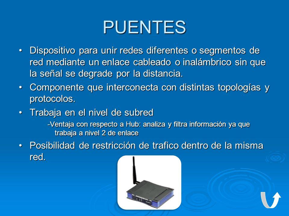 PUENTES Dispositivo para unir redes diferentes o segmentos de red mediante un enlace cableado o inalámbrico sin que la señal se degrade por la distanc