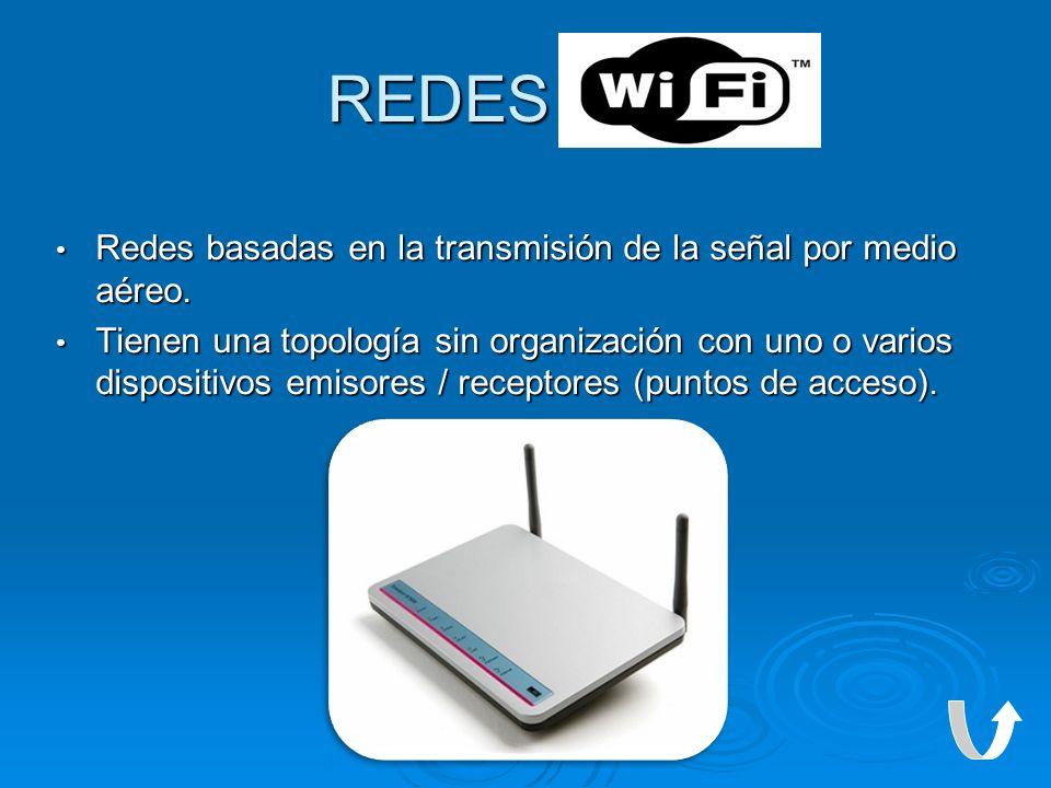 REDES WI-FI Redes basadas en la transmisión de la señal por medio aéreo. Redes basadas en la transmisión de la señal por medio aéreo. Tienen una topol
