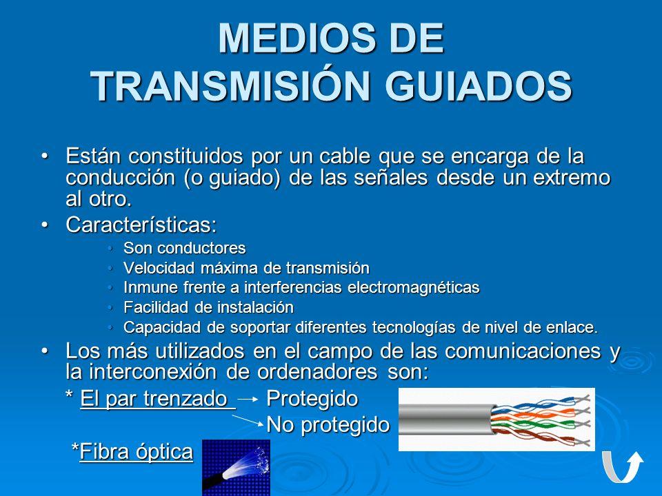 MEDIOS DE TRANSMISIÓN GUIADOS Están constituidos por un cable que se encarga de la conducción (o guiado) de las señales desde un extremo al otro.Están