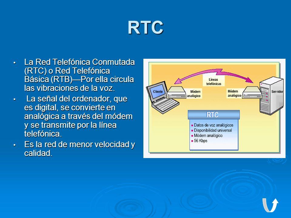 RTC La Red Telefónica Conmutada (RTC) o Red Telefónica Básica (RTB)Por ella circula las vibraciones de la voz. La Red Telefónica Conmutada (RTC) o Red