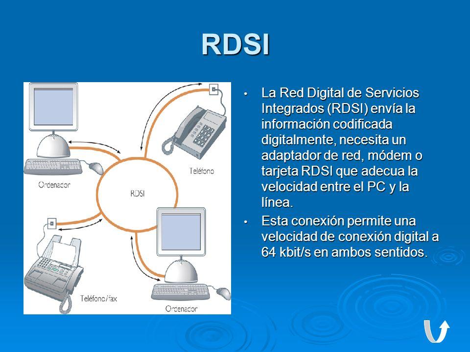 RDSI La Red Digital de Servicios Integrados (RDSI) envía la información codificada digitalmente, necesita un adaptador de red, módem o tarjeta RDSI qu