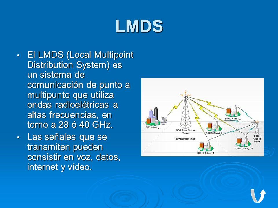 LMDS El LMDS (Local Multipoint Distribution System) es un sistema de comunicación de punto a multipunto que utiliza ondas radioelétricas a altas frecu