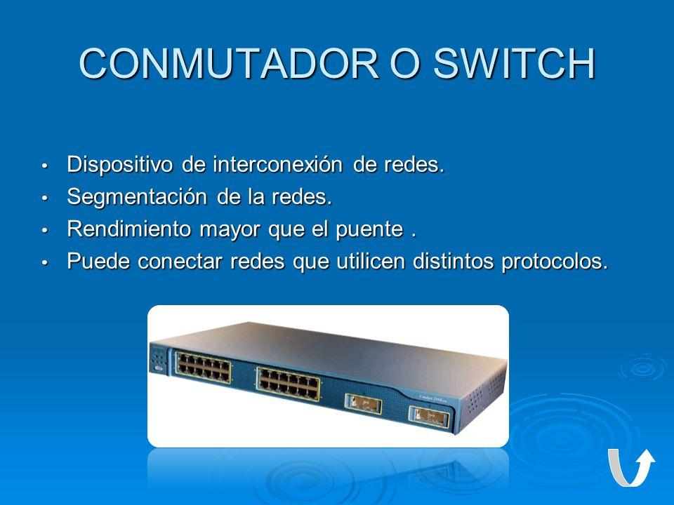 CONMUTADOR O SWITCH Dispositivo de interconexión de redes. Dispositivo de interconexión de redes. Segmentación de la redes. Segmentación de la redes.