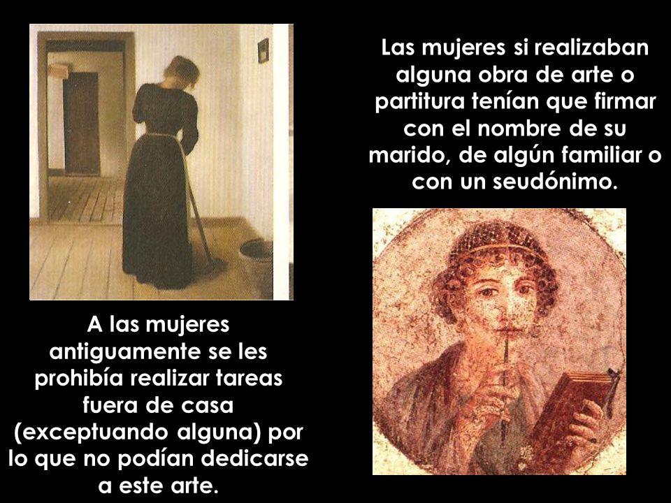Un ejemplo de esta discriminación hacia las mujeres fue Maria Anna Mozart, que tenia una amplia cultura musical, tocaba el violín y el piano y era una gran compositora.