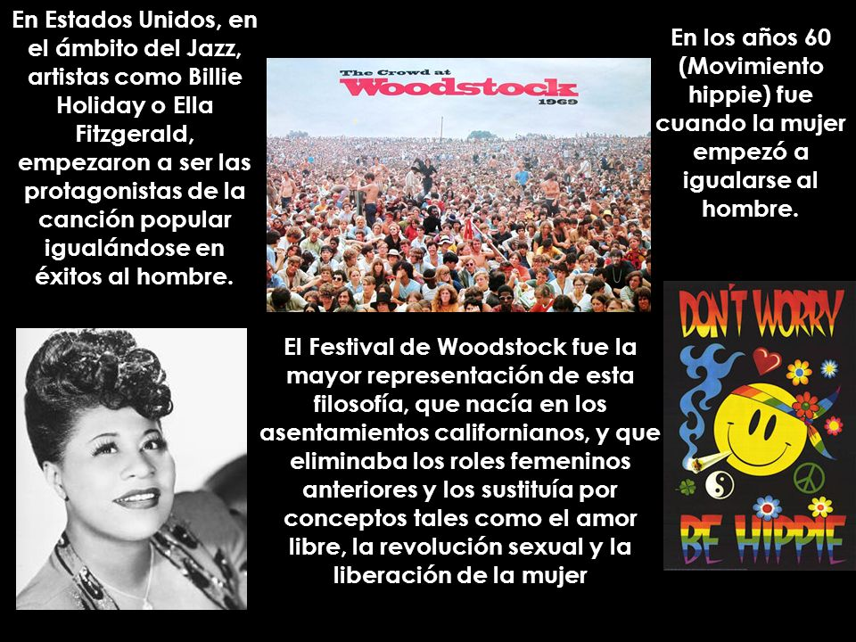 En Estados Unidos, en el ámbito del Jazz, artistas como Billie Holiday o Ella Fitzgerald, empezaron a ser las protagonistas de la canción popular igua