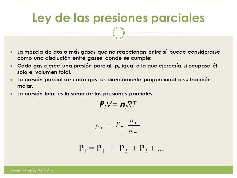 Ley de las presiones parciales La mezcla de dos o más gases que no reaccionan entre sí, puede considerarse como una disolución entre gases donde se cu