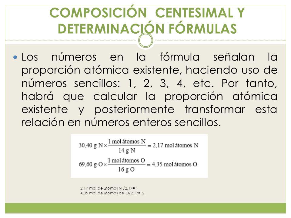COMPOSICIÓN CENTESIMAL Y DETERMINACIÓN FÓRMULAS Los números en la fórmula señalan la proporción atómica existente, haciendo uso de números sencillos: