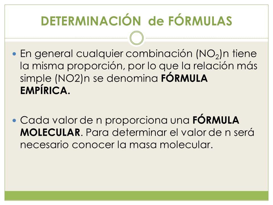 DETERMINACIÓN de FÓRMULAS En general cualquier combinación (NO 2 )n tiene la misma proporción, por lo que la relación más simple (NO2)n se denomina FÓ