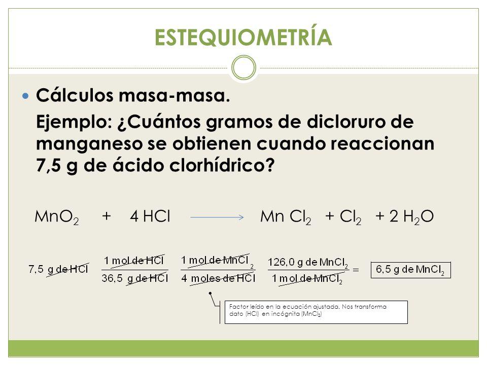 ESTEQUIOMETRÍA Cálculos masa-masa. Ejemplo: ¿Cuántos gramos de dicloruro de manganeso se obtienen cuando reaccionan 7,5 g de ácido clorhídrico? MnO 2