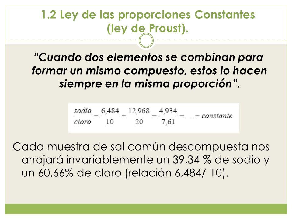 1.3 Ley de las proporciones múltiples Las cantidades de un mismo elemento que se combinan con una cantidad fija de otro para formar varios compuestos están en la relación de los números enteros sencillos como 1:2, que es la relación anterior, o 3:1, 2:3: 4:3, etc.