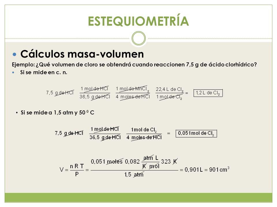 ESTEQUIOMETRÍA Cálculos masa-volumen Ejemplo: ¿Qué volumen de cloro se obtendrá cuando reaccionen 7,5 g de ácido clorhídrico? Si se mide en c. n. Si s