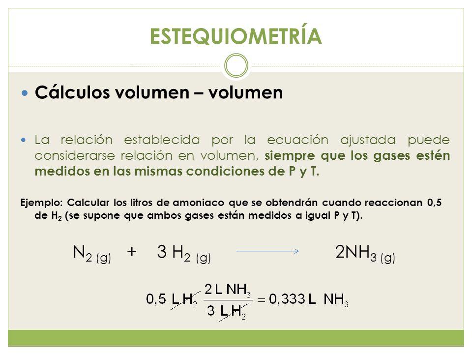 ESTEQUIOMETRÍA Cálculos volumen – volumen La relación establecida por la ecuación ajustada puede considerarse relación en volumen, siempre que los gas