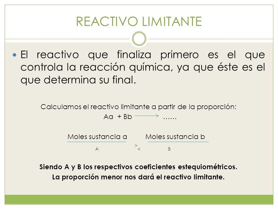 REACTIVO LIMITANTE El reactivo que finaliza primero es el que controla la reacción química, ya que éste es el que determina su final. Calculamos el re