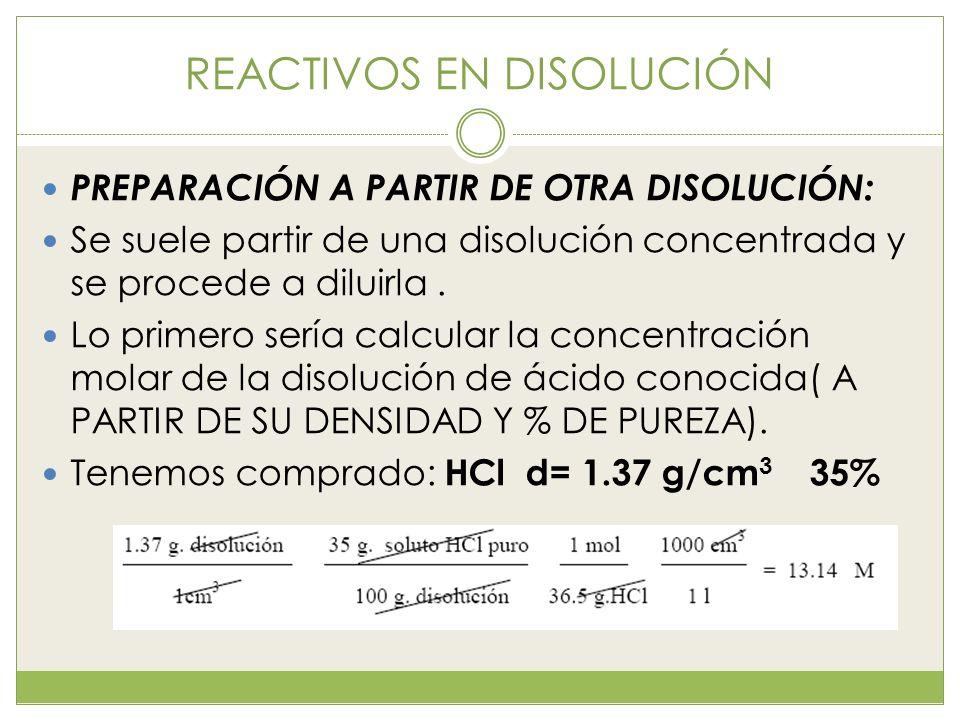REACTIVOS EN DISOLUCIÓN PREPARACIÓN A PARTIR DE OTRA DISOLUCIÓN: Se suele partir de una disolución concentrada y se procede a diluirla. Lo primero ser