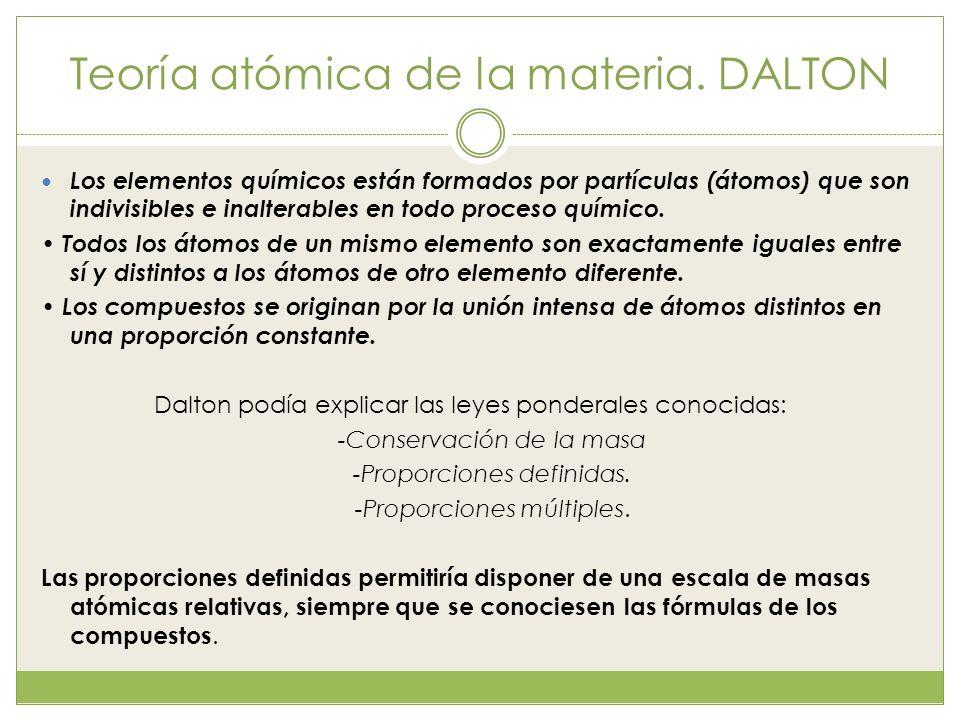 Teoría atómica de la materia. DALTON Los elementos químicos están formados por partículas (átomos) que son indivisibles e inalterables en todo proceso