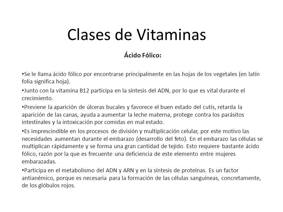 Clases de Vitaminas Ácido Fólico: Se le llama ácido fólico por encontrarse principalmente en las hojas de los vegetales (en latín folia significa hoja