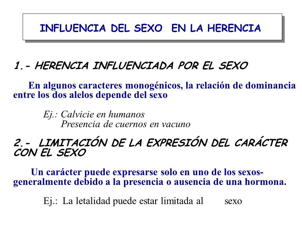 INFLUENCIA DEL SEXO EN LA HERENCIA 1.- HERENCIA INFLUENCIADA POR EL SEXO En algunos caracteres monogénicos, la relación de dominancia entre los dos al