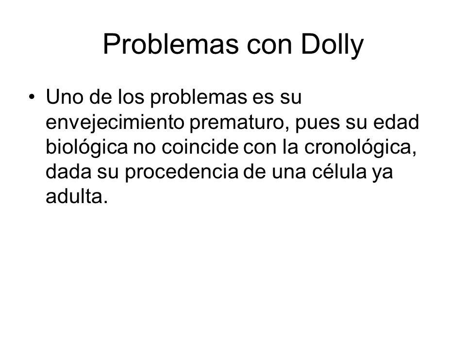 Problemas con Dolly Uno de los problemas es su envejecimiento prematuro, pues su edad biológica no coincide con la cronológica, dada su procedencia de