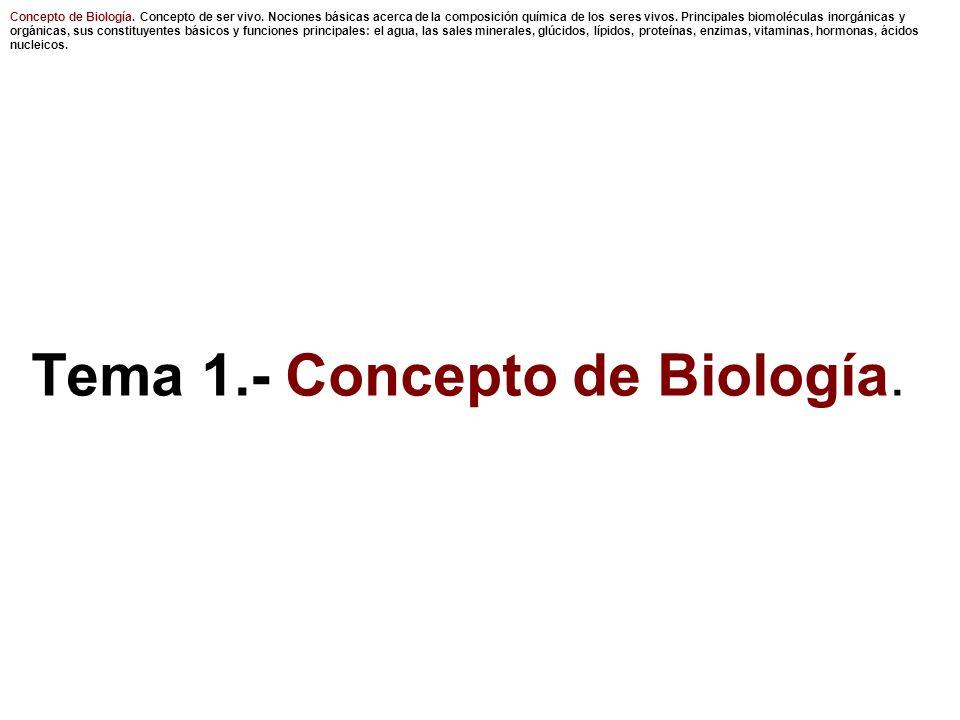 Concepto de Biología.Concepto de ser vivo.
