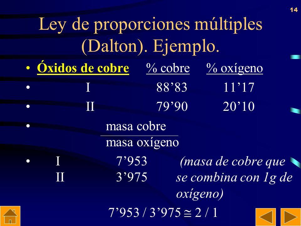 13 Ley de proporciones múltiples (Dalton). Cuando dos elementos se combinan entre sí para dar compuestos diferentes, las diferentes masas de uno de el