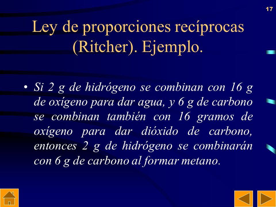 16 Ley de proporciones recíprocas (Ritcher) Las masas de dos elementos que se combinan con una masa de un tercero, guardan la misma relación que las m