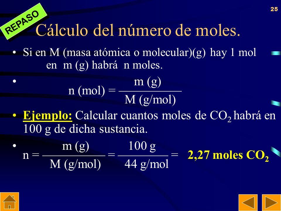 24 Concepto de mol Es un número de Avogadro (N A = 6,022 · 10 23 ) de átomos o moléculas. En el caso de un N A de átomos también suele llamarse átomo-