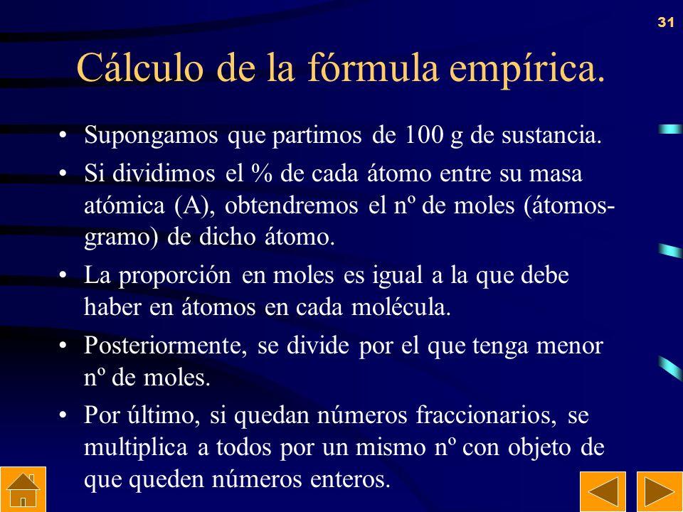 30 Ejercicio: Escribir las fórmulas empíricas de: a) Glucosa, conocida también como dextrosa, cuya fórmula molecular es C 6 H 12 O 6 ; Óxido de nitróg