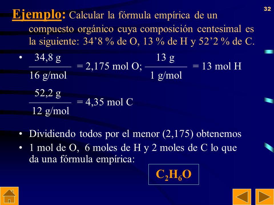 31 Cálculo de la fórmula empírica. Supongamos que partimos de 100 g de sustancia. Si dividimos el % de cada átomo entre su masa atómica (A), obtendrem