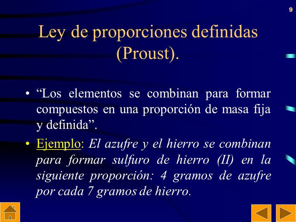 8 Ley de conservación de la masa (Lavoisier). En toda transformación química la masa se conserva, es decir, la masa total de los reactivos es igual a