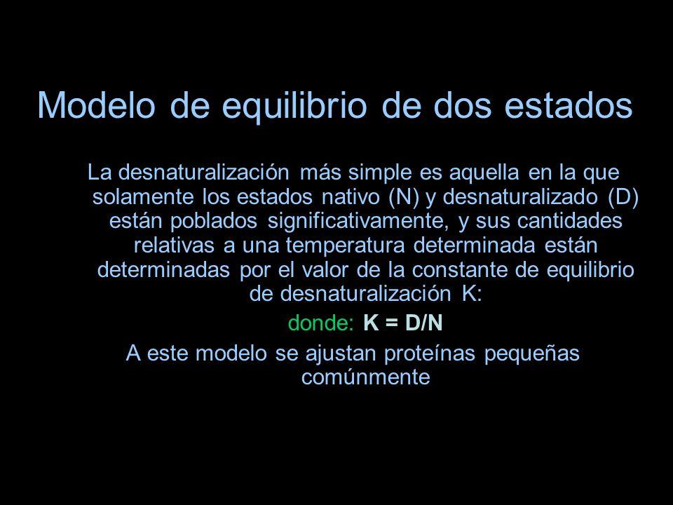 Modelo de equilibrio de dos estados La desnaturalización más simple es aquella en la que solamente los estados nativo (N) y desnaturalizado (D) están